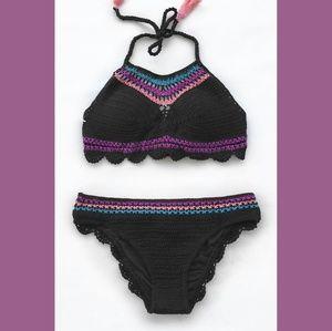 Cupshe Crochet Scalloped Halter Bikini Black Multi